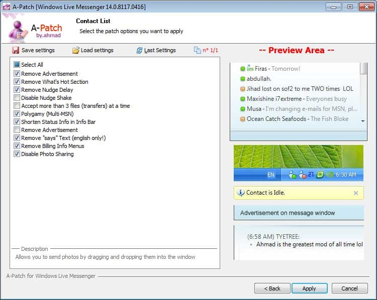 A-Patch para Windows Live Messenger 2009 For Windows Live Messenger 9 1.43.4