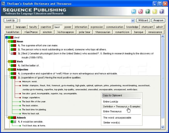 Free Download TheSage English Dictionary and Thesaurus para Windows