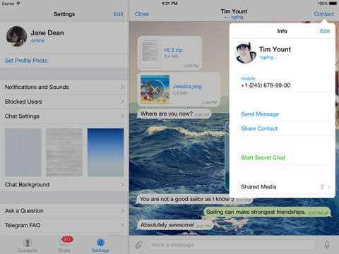 Telegram Messenger para iPhone