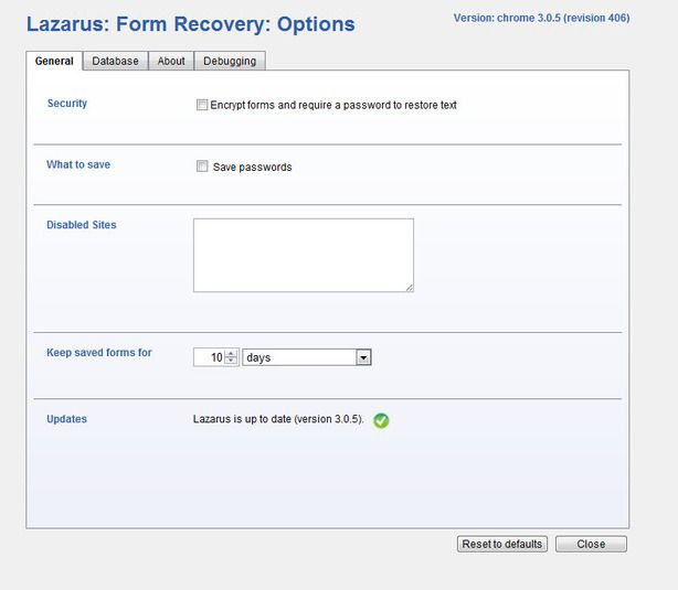 Lazarus: Form Recovery (Chrome)  3.0.5